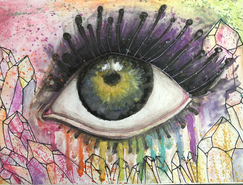 "Original 10x7 Watercolor ""The Window"" Psychedelic Eye Painting - The Whimsy Crystal Shop"