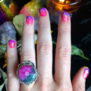 Pink & Green Solar Quartz Ring, Size 7.5(925 Stamped) - The Whimsy Crystal Shop