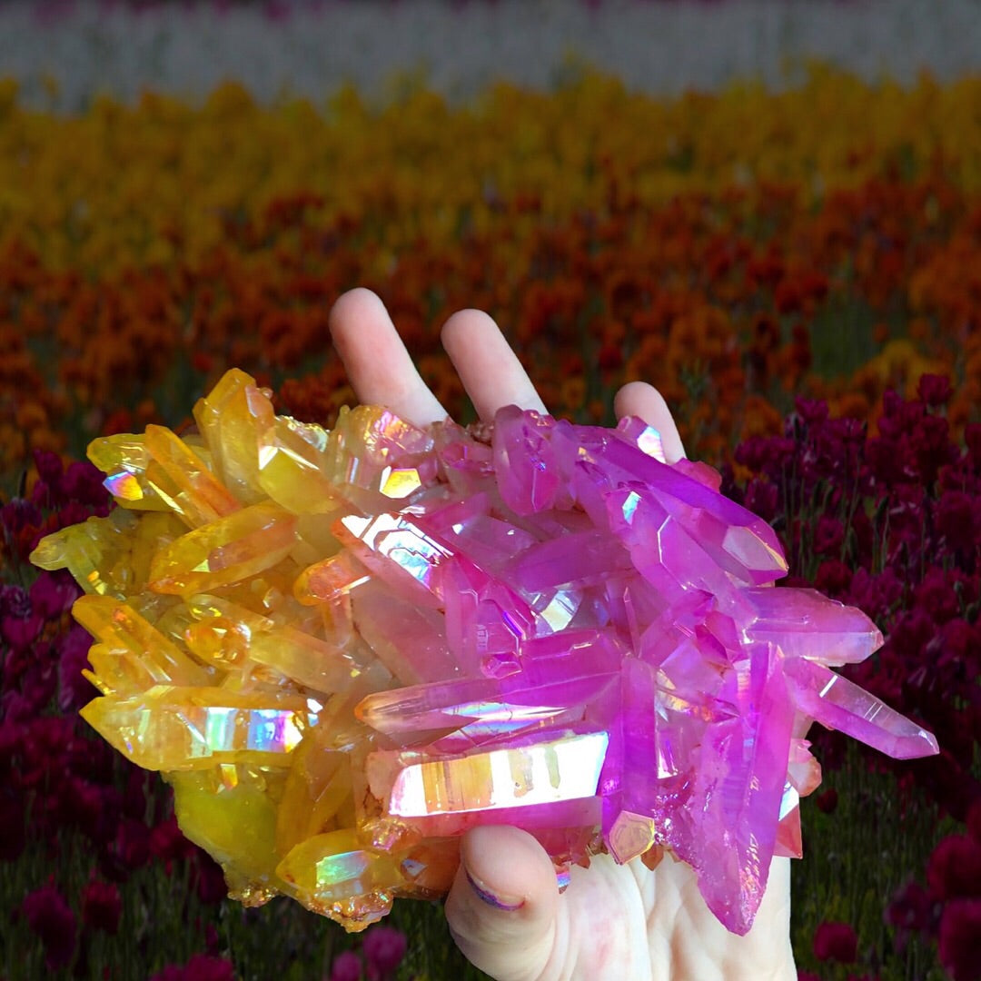 2lb Sunset Aura Quartz Cluster - The Whimsy Crystal Shop