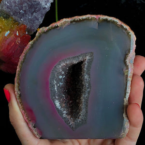 1lb Pink Agate Standing Geode Druzy - The Whimsy Crystal Shop