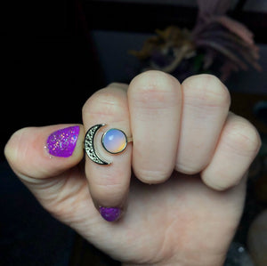 Opalite Moon Ring Size 7 - The Whimsy Crystal Shop