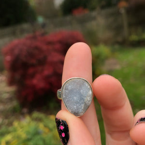 Blue Celestite Druzy Ring Size 6.5 Sterling Silver Plated - The Whimsy Crystal Shop