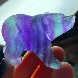 Fluorite Hand Carved Bear