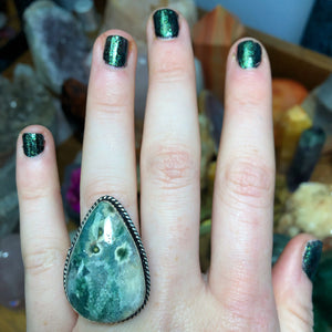 Ocean Jasper Ring Size 7.5 Sterling Silver Plated