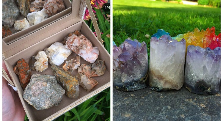 Reserved for @rhianalise 2.1lbs Quartz Clusters and large Pyrite Rough stone with fancy beaded mirror box - The Whimsy Crystal Shop