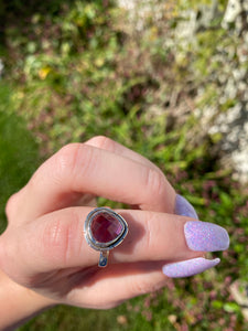 Faceted amethyst size 6.5 sterling silver