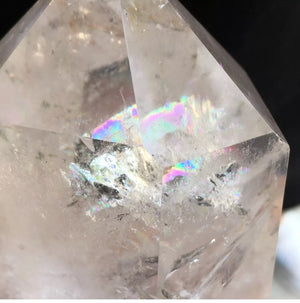 PRE-ORDER! From upcoming shipment 3-4 weeks arrival. 0.8lb Large Beautiful Quartz Double Terminated Crystal Wand with multiple rainbow inclusions - The Whimsy Crystal Shop