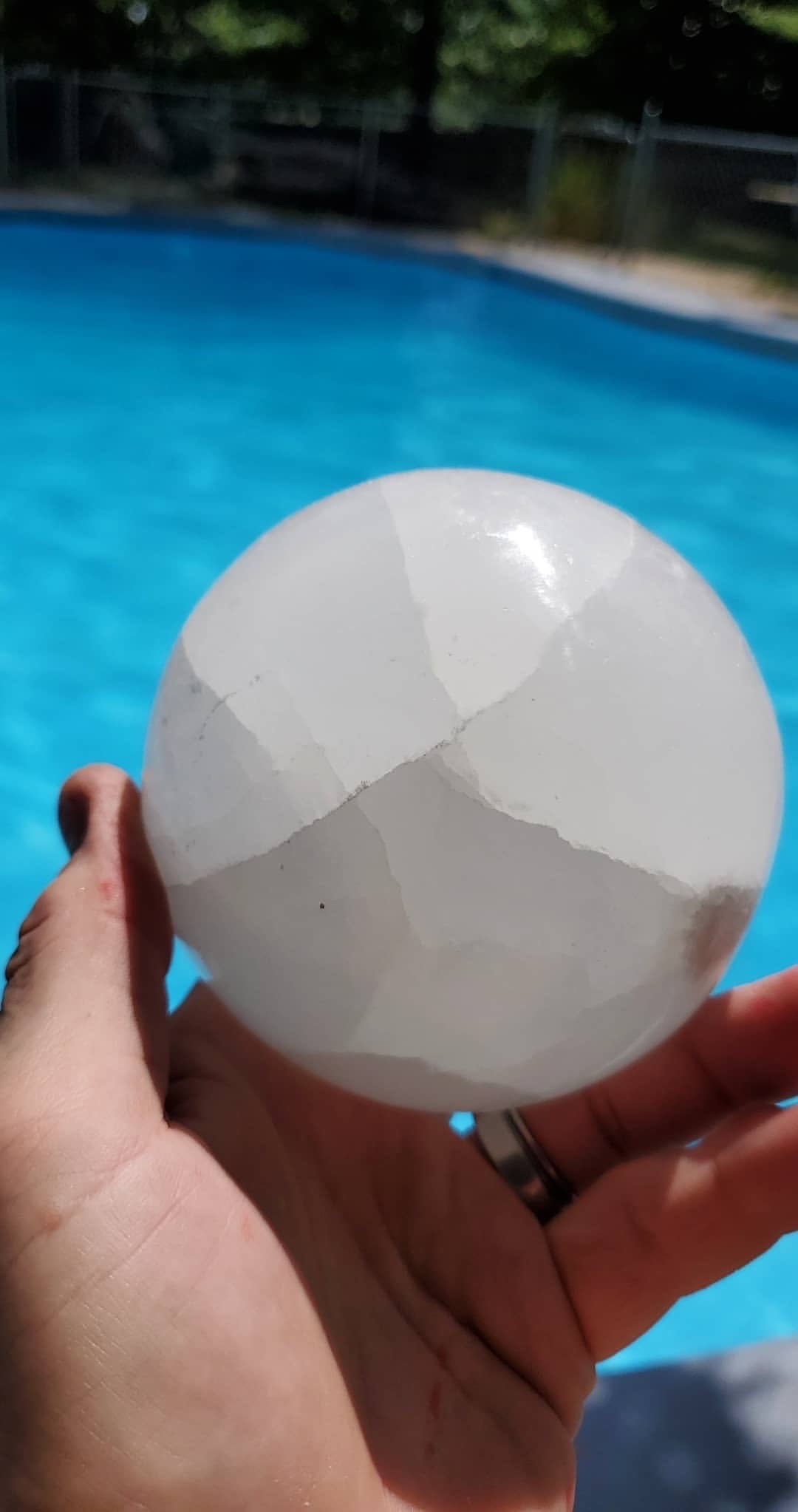Large selenite sphere comes with stand