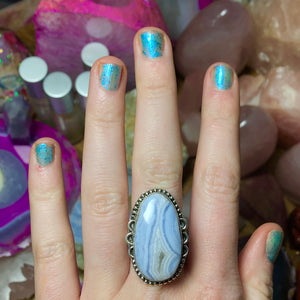 Blue Lace Agate Ring Size 9 Sterling Silver - The Whimsy Crystal Shop