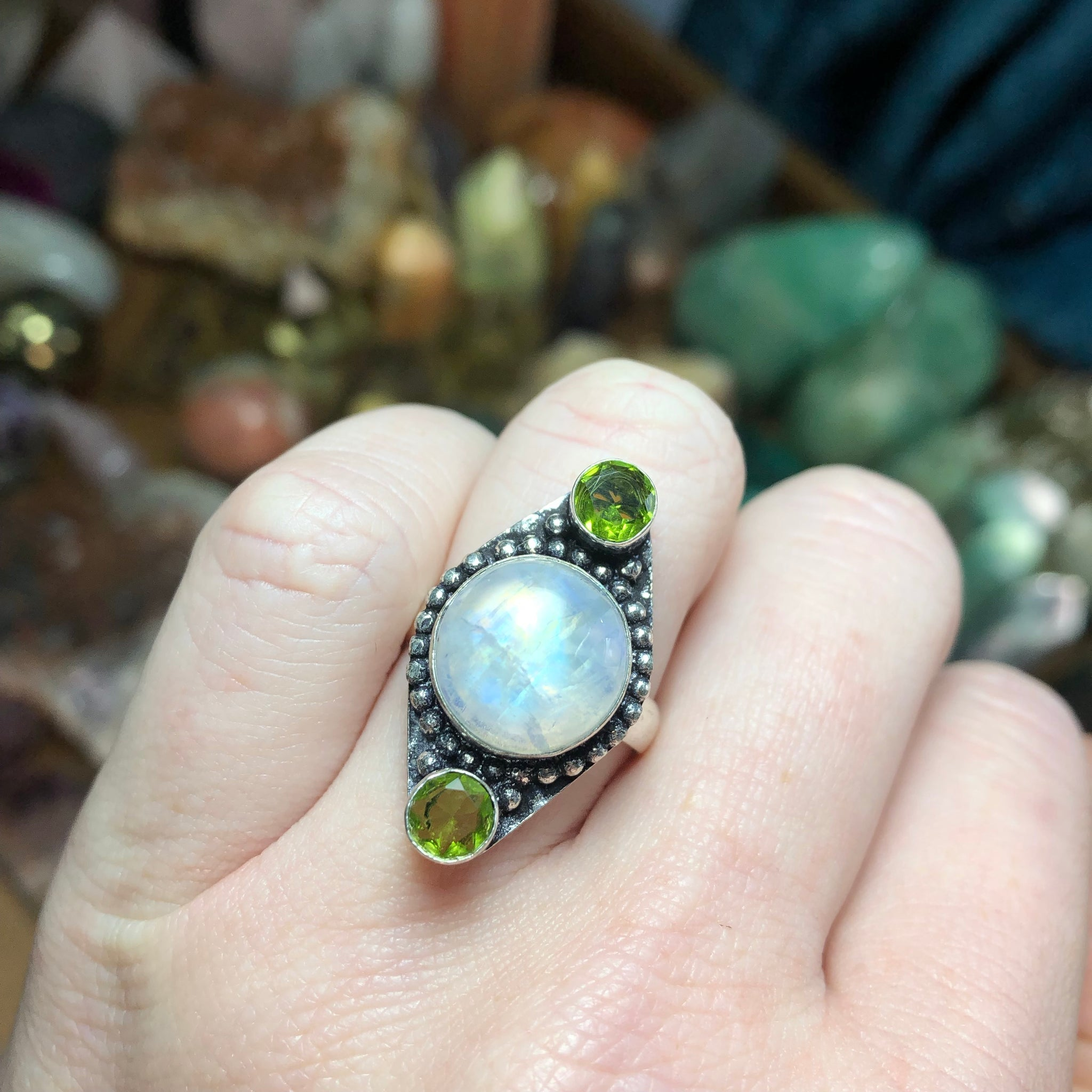 Rainbow Moonstone & Peridot Ring Size 8 Sterling Silver - The Whimsy Crystal Shop