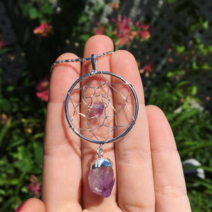 Amethyst Dream Catcher Necklace - The Whimsy Crystal Shop