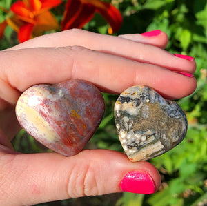 Ocean Jasper Hearts (set of 2) - The Whimsy Crystal Shop