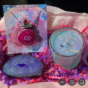BUNDLE DEAL! Pink Solar Quartz and Garnet Necklace, Purple Agate Thick Slice & Fairy Candle (Ocean Breeze Scented) - The Whimsy Crystal Shop