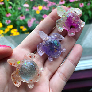 Reserved for Janelle Reiki Orgone Resin Baby Turtles set of (3) with Amethyst/Turquoise, Blue Quartz, & Strawberry Aura Quartz Inside promoting peace & happiness - The Whimsy Crystal Shop