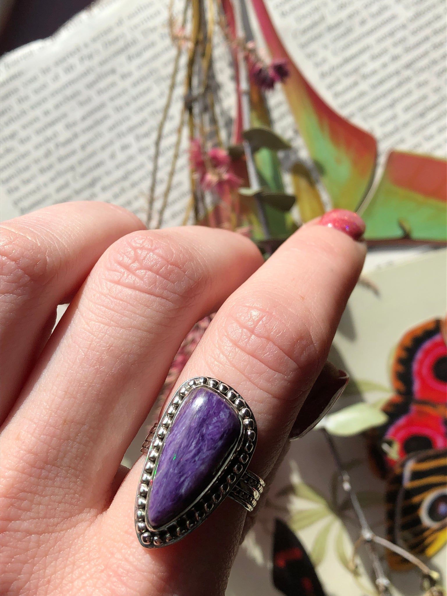 Charoite ring size 8 sterling silver