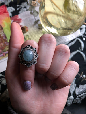 Aquamarine Ring Size 8 Sterling Silver