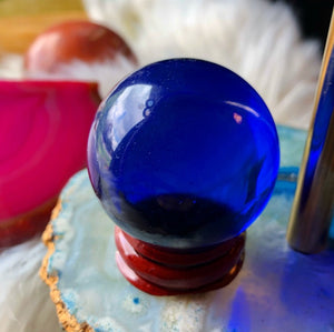 Blue Crystal Ball with Stand - The Whimsy Crystal Shop
