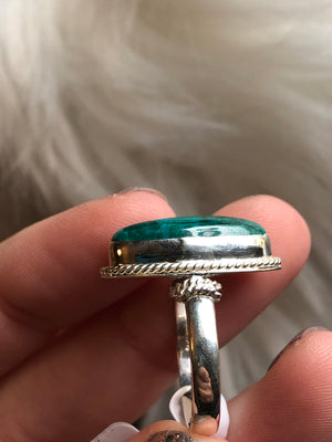 Chrysocolla with malachite ring size 8 sterling silver