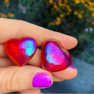 Set of (2) Cherry Aura Quartz Hearts - The Whimsy Crystal Shop