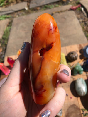Carnelian self standing polished Freeform