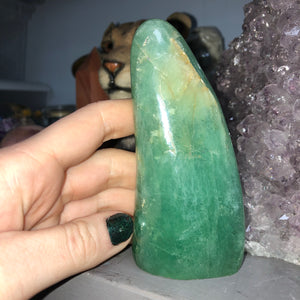 0.5lb Green Fluorite Polished Standing Freeform - The Whimsy Crystal Shop