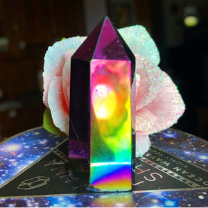 Rainbow Aura Quartz Flame Standing Wand - The Whimsy Crystal Shop