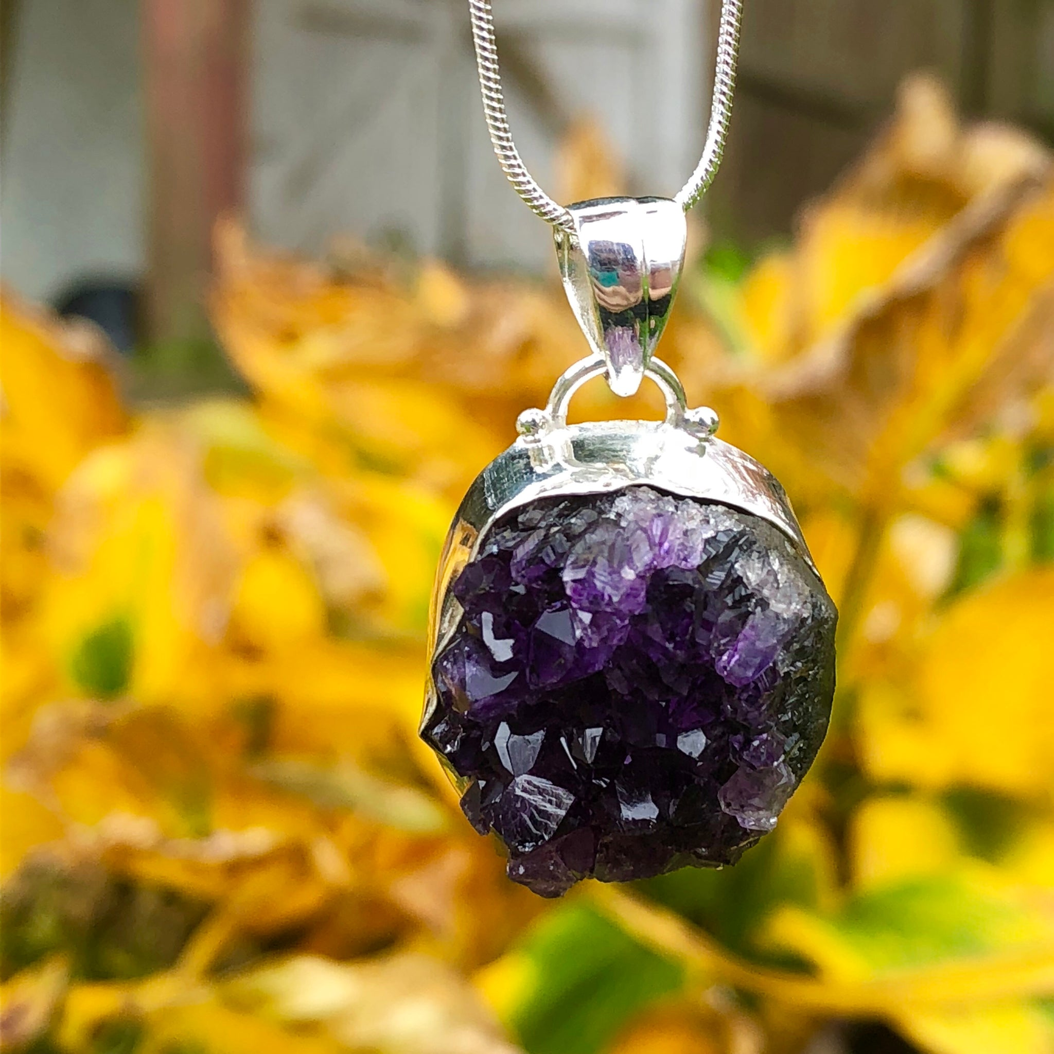 Amethyst Cluster Necklace Sterling Silver - The Whimsy Crystal Shop