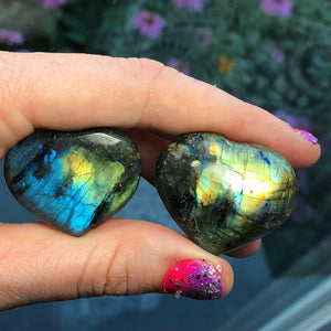 Rainbow Labradorite Heart Bundle of (2) - The Whimsy Crystal Shop