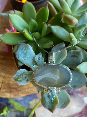 Agate topaz necklace sterling silver