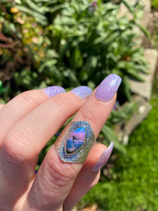 Purple and blue dendritic opal size 6.5 sterling silver