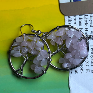Rose Quartz Tree of Life Earrings - The Whimsy Crystal Shop