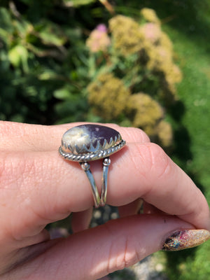 Sage agate ring size 7 sterling silver