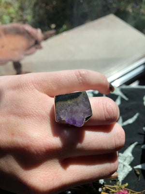 Amethyst slice ring size 8 sterling silver
