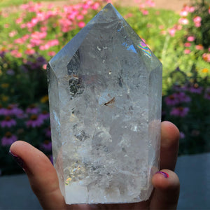 1lb Quartz with rainbow Inclusions Standing Tower - The Whimsy Crystal Shop