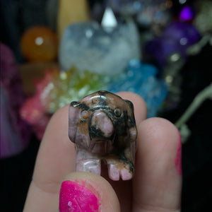 Hand Carved Rhodonite Lucky Pig - The Whimsy Crystal Shop