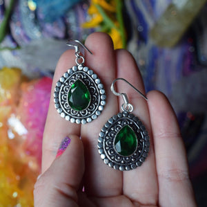 Emerald Earrings (925 Stamped - The Whimsy Crystal Shop