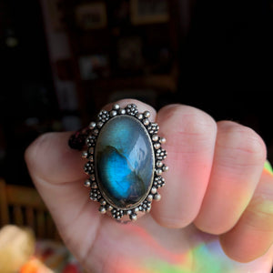 Blue Labradorite Ring Size 6.5 (925 Stamped) - The Whimsy Crystal Shop