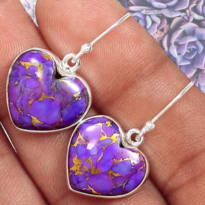 Purple Copper Turquoise Heart Earrings Sterling Silver - The Whimsy Crystal Shop