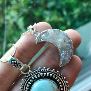 Angel Aura Druzy Quartz Moon Necklace - The Whimsy Crystal Shop