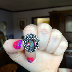 Mystic Quartz Ring size 8(925 Stamped) - The Whimsy Crystal Shop