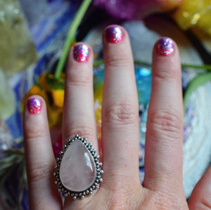 Rose Quartz Ring, Size 9.5(925 Stamped) - The Whimsy Crystal Shop