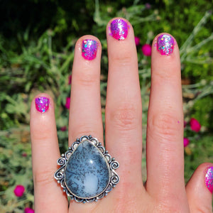 Dendritic Opal Ring, Size 8.5 (925 Stamped) - The Whimsy Crystal Shop