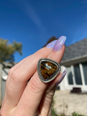 Golden Pietersite size 6 sterling silver