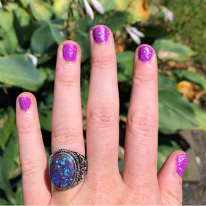Purple Copper Turquoise Ring, Size 6.5 (925 Stamped) - The Whimsy Crystal Shop