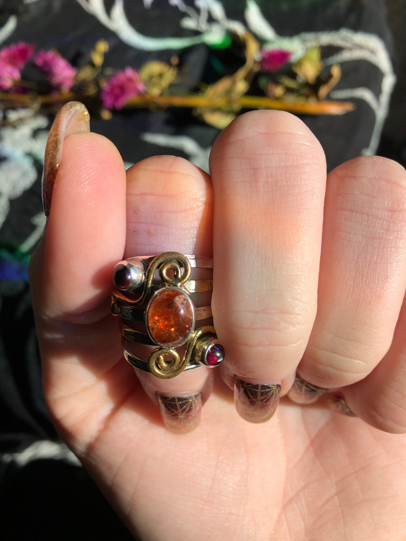 Sunstone and garnet sterling silver and 2 toned 14k gold overlay size 5