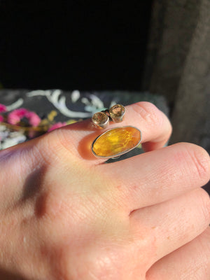 Baltic Amber and citrine ring size 6 sterling silver