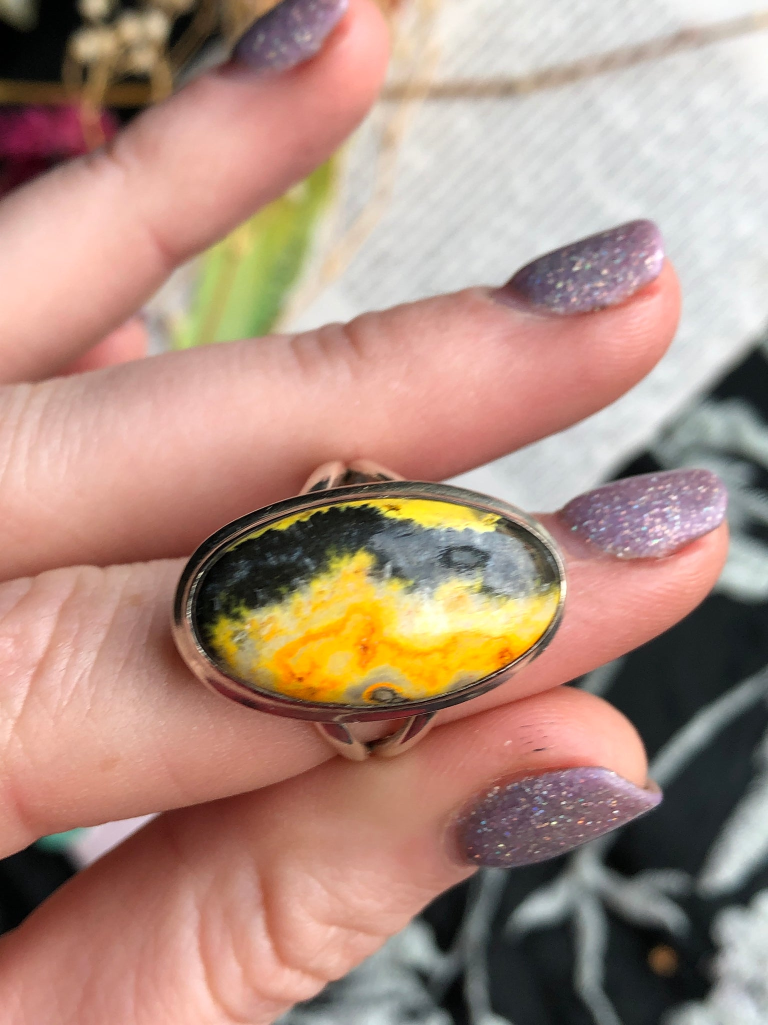 Bumblebee Jasper ring size 8.5 sterling silver