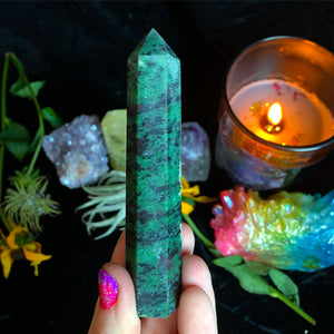 Kiwi Jasper Standing Wand - The Whimsy Crystal Shop