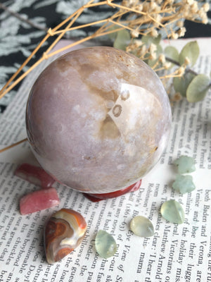 Flower agate sphere *comes with stand