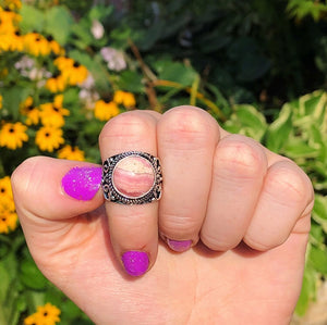 Rhodochrosite Ring, Size 6.5 (925 Stamped) - The Whimsy Crystal Shop